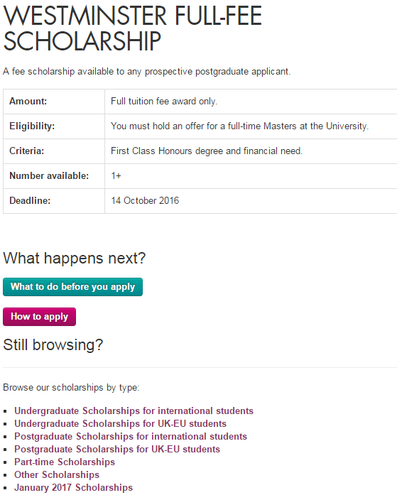 university of westminster application fee