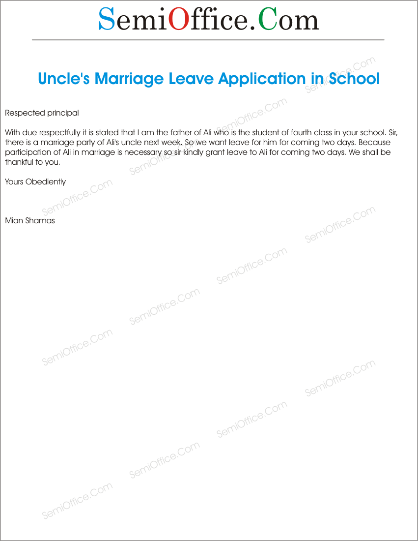 school leave application for uncle marriage