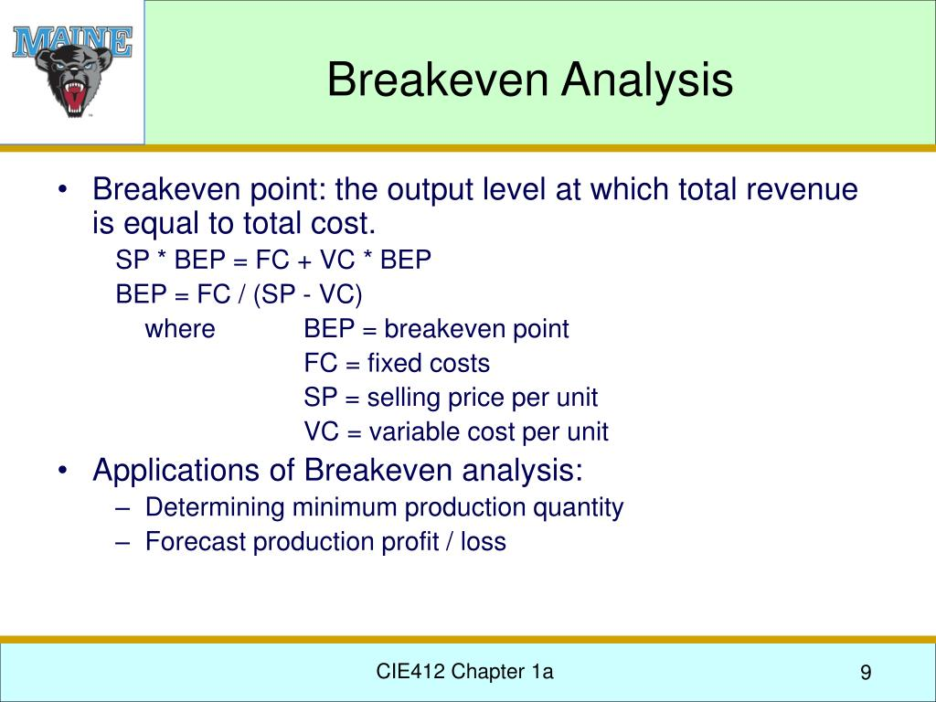 applications of break even analysis ppt